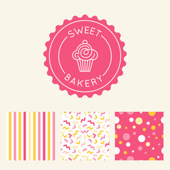 Vector logo design template and insignia in flat linear style - sweet cupcake
