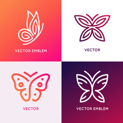 Vector set of abstract logo design templates and emblems - butterfly