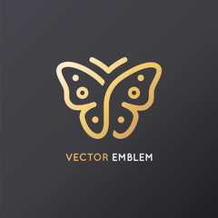 Vector abstract logo design template and emblem - butterfly