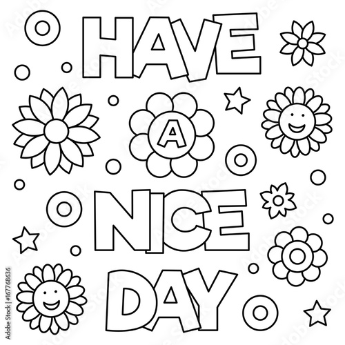 Have A Nice Day Coloring Page Vector Illustration