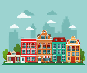 Vector illustration of european town. Flat design. Old houses.