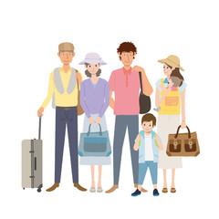 三世帯 旅行 イラスト