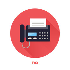 Black fax phone with paper page flat style icon. Wireless technology, office equipment sign. Vector illustration of communication devices for electronics store.