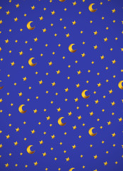 Vertical card. Pattern with gold cartoon stars and moons on blue background.