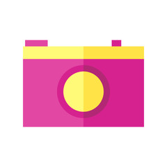 Coloured vector illustration of a camera.