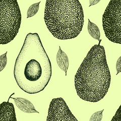 Vector hand drawn avocado seamless pattern. Whole avocado, half, leaf and seed sketch. Retro style background. Detailed food drawing.