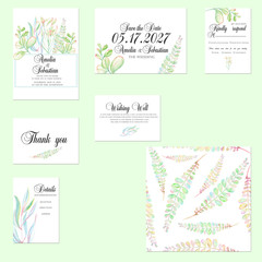 Template cards set with tender watercolor mint and green branches; wedding design for invitation, Save the date card, RSVP, Thank you card, Wishing Well card,  for anniversary day
