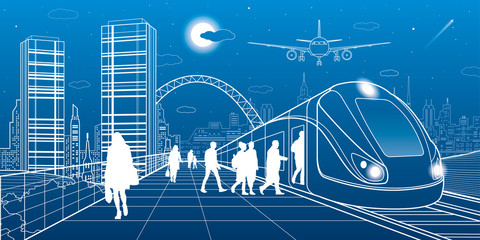 City and transport illustration. Passengers get on train, people at station. Airplane fly. Modern town on background, towers and skyscrapers. White lines. Vector design art