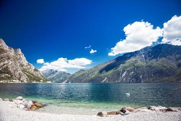 View of Lake Garda from Mount Monte Baldo. Italy, the Dolomites.