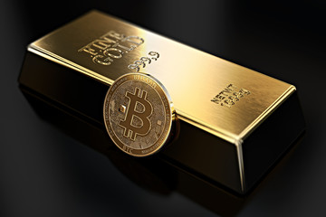 Golden Bitcoin lean against gold ingot (bullion bar). Bitcoin fails to be more desirable than gold. 3D rendering