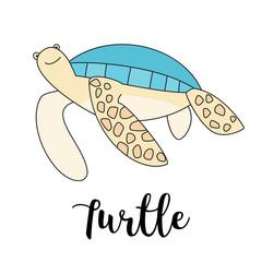 Cute cartoon tortoise isolated vector illustration