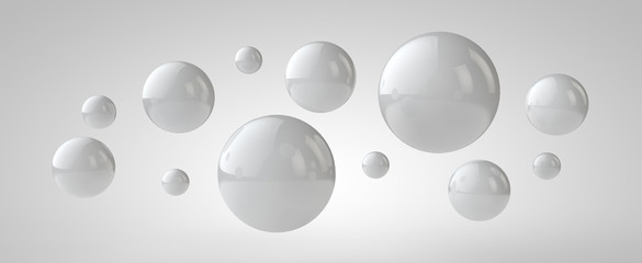 White 3d balls background, 3d illustration
