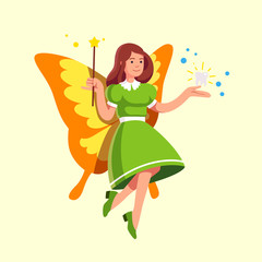 Flying tooth fairy in dress holding magic wand