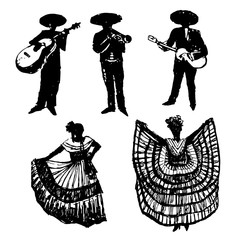Collection of silhouettes of  Mexican musicians with instruments and dancers, drawing sketch hand drawn vector illustration