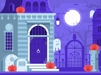Halloween ghost house scene with victorian haunted mansion entrance, old cemetery, spooks and gallows tree by full moon night. Horror story or scary tale concept vector illustration.