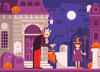 Halloween scene with scary haunted house, trick or treat children in costumes of ghost and witch getting candies from dracula by moon night. Halloween concept with vampire and trick or treaters kids.