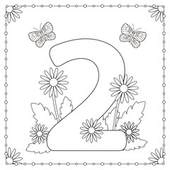 Numeral two with flowers, leaves and butterflies. Coloring page