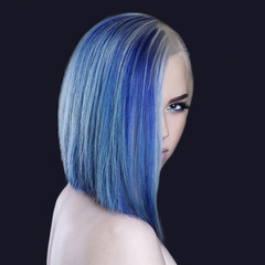 Girl with blue hair and make-up