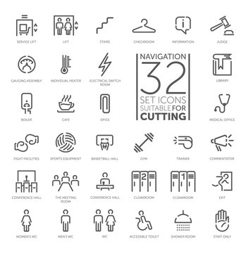 Navigation signs vector icon set