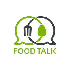 Food Talk Logo template designs vector illustration, Food Discuss logo, Food Forum logo