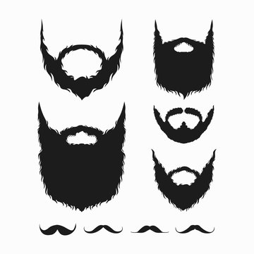 set of beard and mustache silhouette vector