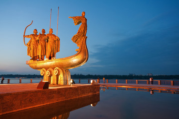 Monument to legendary founders of Kiev: Kiy, Schek, Khoryv and Lybid on Dnieper river coast, Kiev (Kyiv), Ukraine