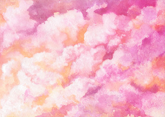 Watercolor Shine and Bright Pink Clouds. Abstract Background