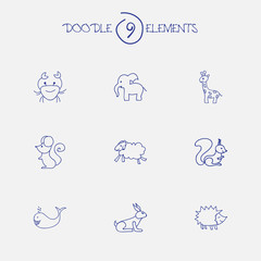 Set Of 9 Editable Zoo Doodles. Includes Symbols Such As Elephant, Cancer, Tall Animal And More. Can Be Used For Web, Mobile, UI And Infographic Design.