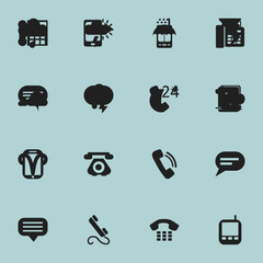 Set Of 16 Editable Phone Icons. Includes Symbols Such As Chat, Radio Talkie, Comment And More. Can Be Used For Web, Mobile, UI And Infographic Design.