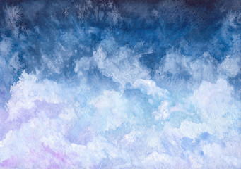 Watercolor Illustration with Sky, Pink and Blue Clouds