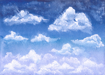 Watercolor Deep Blue Sky and White Clouds