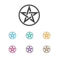 Vector Illustration Of Religion Symbol On Baphomet Symbol Icon. Premium Quality Isolated Pentagram Element In Trendy Flat Style.