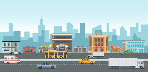 Urban landscape with modern buildings and market places. Different cars on the street. Vector illustrations in cartoon style
