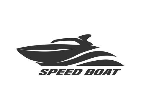 Speed boat, monochrome logo.