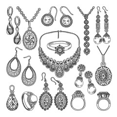 Golden and silver jewelry. Different diamonds and crystals. Hand drawing illustrations