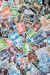 Background of stamps mail from different countries.