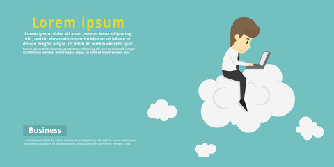 Businessman with laptop sitting on cloud.Cartoon of business success is the concept of the man characters business, the mood of people, can be used as a background, banner. vector illustration