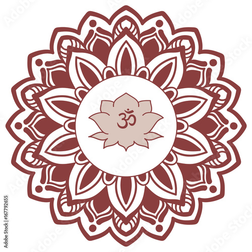Om symbol with hand drawn mandala and lotus flower set of oriental om symbol with hand drawn mandala and lotus flower set of oriental ornaments for greeting mightylinksfo