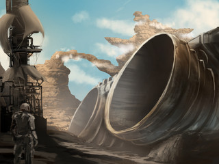 Digital painting of a crashed spaceship on a desert planet