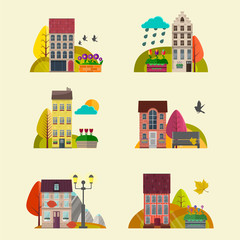 Cute autumn Houses. Vector. Nature landscape background with little houses..