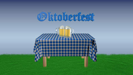 """Oktoberfest"" with beer jugs"