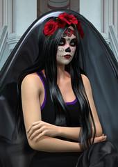 3D Rendering Suger Skull Girl