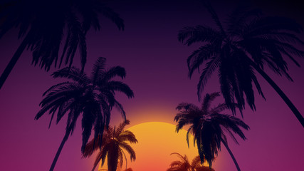 80's retro style background with tropical coconut trees and sunset from 3d render. Fototapete