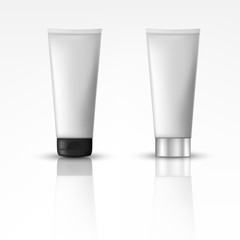 Cosmetic products with different cap. Suitable for cream, soups, foams, shampoo. Object, shadow, and reflection on separate layers. vector illustration