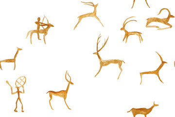 Imitation of drawing in a cave painted red and orange ocher by an ancient man on a rock wall. Hunting for an animal. Shaman, aboriginal, neanderthal, roe, ram, ship, mammoth, deer. Seamless pattern.