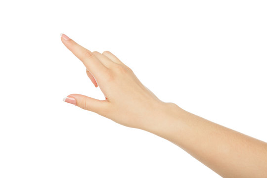 Woman's hand pointing on object with forefinger, crop, cutout