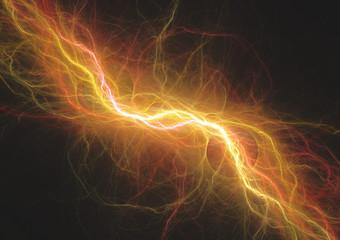 Hot orange lightning, electrical energy background