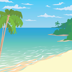 Sandy beach with palms. Tropical ocean landscape.