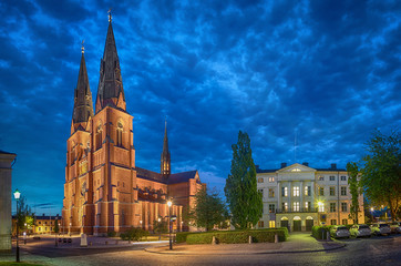 Uppsala Cathedral in the evening, Uppsala, Sweden (HDR effect)