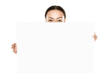 african american woman with blank banner